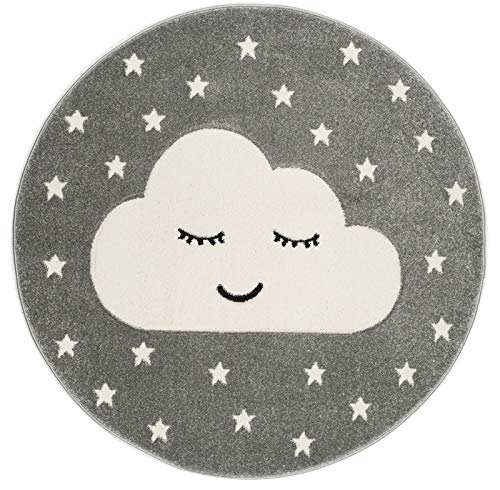 Livone Kinderzimmer Baby Teppich Kinderteppich Wolke Sterne Silber grau Weiss 133 cm rund