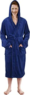 NY Threads Hooded Bathrobe Mens Luxurious Fleece Shawl Collar Robe