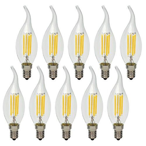 10x 4W E14 Bombillas LED Filamentos Vela Vintage Retro Lámpara de Araña Candelabro Lámpara Bombillas iluminación, no regulable, Blanca Cálida 2700K, 40W Equivalente incandescente