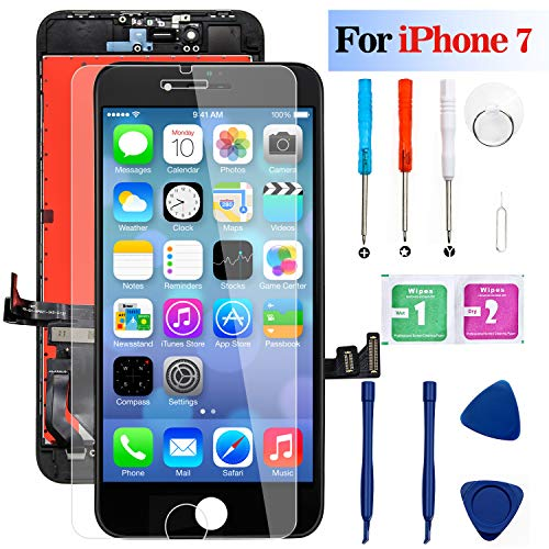 iPhone 7 Screen Replacement Black, MilanSo 4.7'' LCD Screen with 3D Touch Digitizer Display,1 Free Screen Protector, with Easy Installation Repair Tools Kits,Compatible with iPhone 7 A1661 A1784 A1785