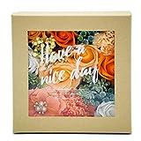 スクエアクラフトシャボンBOX ソープフラワーアレンジメント 枯れないお花 フラワーギフトに最適 (オレンジ)