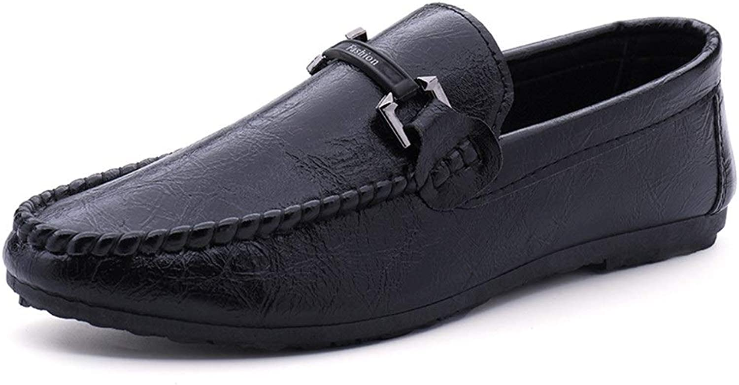 Ino Driving Loafer for Men Boat Moccasins Slip On Style PU Leather Round Toe Elementary Virgin colors Metaldecor