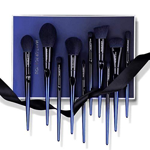 N /A QJYNS Maquillage Brush Set Brush Makeup Set Eyeshadow Brush Soft 10 Pcs Blue Ladies Girls