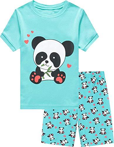 EULLA Mädchen Schlafanzug Kurz Sommer Nachtwäsche Baumwolle Kinder Zweiteiliger Einhorn Katze Panda Pyjamas Set 5# Panda DE 104