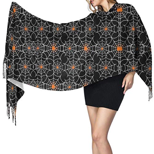 Bufanda de mantón Mujer Chales para, Halloween Spider Web Mujer Invierno Cálido Bufanda Moda Largo Grande Suave Cashmere Chal Abrigo Bufandas
