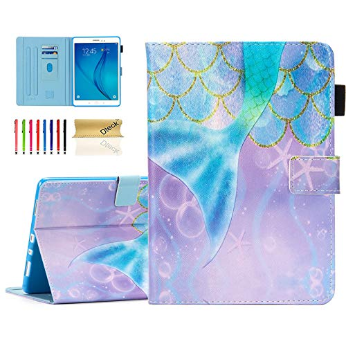 Dteck Case for Samsung Galaxy Tab A 9.7 Inch Tablet 2015 Release, SM-T550 /SM-P550 Case - Magnetic Closure Synthetic Leather Protective Wallet Cute Stand Flip Cover with Stylus Pen (Beautiful Mermaid)