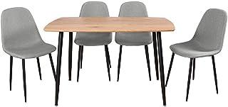 AltoBuy Leana - Ensemble Table + 4 Chaises Tissu Gris Clair