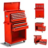 8 Drawers Tool Chest, Rolling Tool box with Lock, High Capacity Tool Chest with Sliding Drawers and 4 Wheels, Removable Tool Cabinet Storage for Warehouse Garage Workshop (Red)