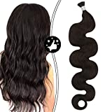 Moresoo 18 Inch I Tip Hair Extensions Human Hair Color #2 Darkest Brown Wavy Itip Fusion Hair 0.8g/1Strand Total 40grams/50Strands I Tip Fusion Hair Extensions Keratin Extensions