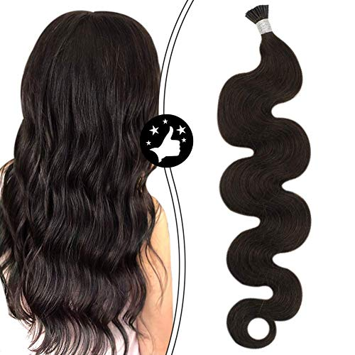 Moresoo 16 Inch Fusion I Tip Hair Extensions Wavy Human Hair Color Darkest Brown I Tip Hair Extensions Remy Human Hair 0.8g/1Strand Total 40g/50Strands Keratin Real Hair Extensions