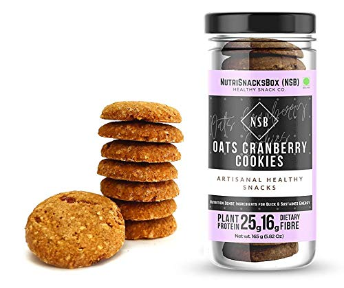 Nutrisnacksbox Oats and Cranberry Cookies, 165 Gram Made up of Jaggery, Low Fat , High Fiber, Zero Maida Used