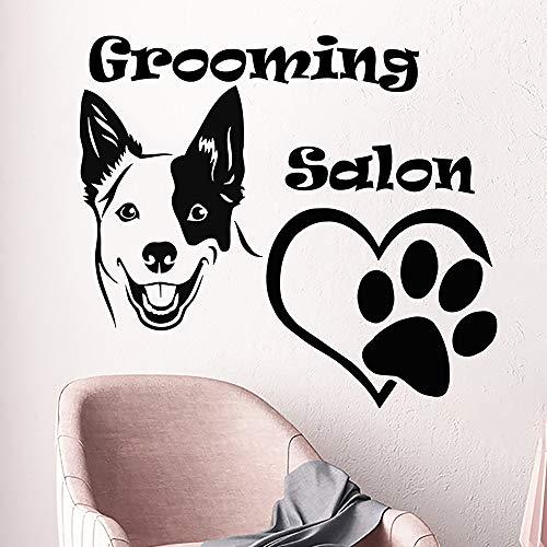 jiuyaomai Beauty Salon Wandtattoo Hund Fußabdruck Wandaufkleber Vinyl Abnehmbarer Aufkleber Hundepflege Salon Dekoration Tapete E64x57cm