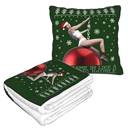 Miley Cyrus - Manta de viaje y almohada 2 en 1, diseño de bola de naufragio, almohada de viaje y manta