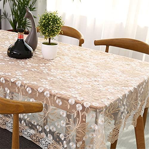 SUNFDD Fresco Hilo Pastoral Bordado Transparente Cuadrado Rectangular Mantel Al Aire Libre Oficina Picnic Mantel Encaje Bordado Mantel De Té 130x180cm(WxH) A