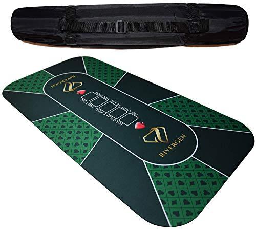 Rivergen Tapis de Poker 120 x 60 cm (Vert) Épaisseur 3 mm | Sac de Transport Inclus | Tapis Poker Texas Holdem | Plateau de Poker | Antidérapant | Table de Poker Pliable Tapis de Cartes