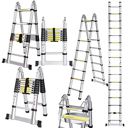COOCHEER 5 M Teleskopleiter Alu, Leiter Ausziehbar, Aluleiter Ausziehleiter Mehrzweckleiter, Klappleiter Stehleiter Rutschfester, Haushaltsleiter bis 150 kg Belastbarkeit (2,5 + 2,5M)