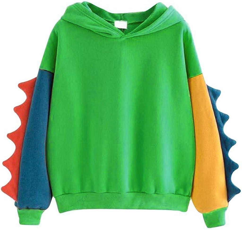 Womens Casual Loose Color Block Long Sleeve Dinosaur Hoodies Pullover Tops Hooded Sweatshirt