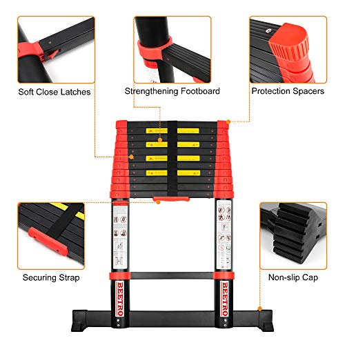 BEETRO 15.5ft Aluminum Telescoping Ladder Extension Folding Ladder, One-Button Retraction Soft-Close System, 330lbs Max Capacity for Indoor and Outdoor Use, More Durable and Safer with Balance Rod