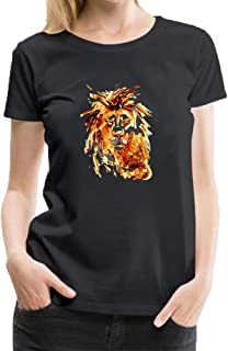 Cotton Womens T Shirt Casual Adult Tops Short Sleeves Funny Animal Watercolors Wild Lions Logo Tee Shirts