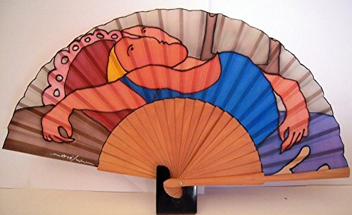 Abanico de seda natural pintado y montado a manoMujer dormida Picasso