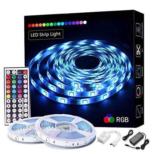 LED Strip Lights 32.8ft/10M,RGB 5050 LEDs Color Changing Full Kit, LED Rope Lights Flexible Tape Light Kit with 44 Keys IR Remote Controller and Power Supply, Mood Lighting Led Strips for Home Kitch