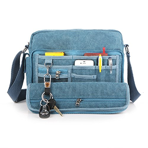 Canvas Shoulder Bag for Women Messenger Bag Multifunctional Crossbody Travel Bag Working Handbag Outdoor Sports Over Shoulder Sling Side Bag Change Packet Blue