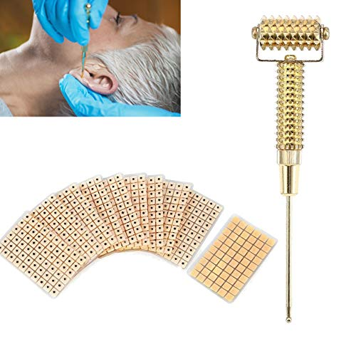 Akupunkturpunkte Sonde Ohrmelder Akupunkturpunkte Federnadel Massagerolle mit Ohrperlen Magnetische Akupressur, Akupunktur Pen Meridian Massage(Golden)