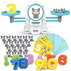 ADULi 天才数学者のはじまり てんびんおもちゃ 知育玩具 数字バランスゲーム 算数 足し算 引き算 子供 男の子 女の子おもちゃ モンテッソーリおもちゃ 脳トレ 数字の基礎を覚える 学習ゲーム 早期開発 色認知 図形認知 幼稚園教具 クリスマス 誕生日プレゼント