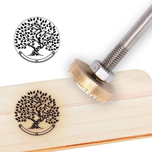 OLYCRAFT Wood Branding Iron Logotipo Personalizado 1.2 Sello de Cuero con Diseño de Hierro BBQ Sello Térmico con Mango de Madera para Carpintería Y Diseño Artesanal - Árbol de la Vida