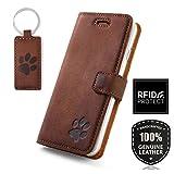 SURAZO H& Pfote - RFID Hülle Premium Ledertasche Schutzhülle Wallet Case aus Echtesleder Farbe Nussbraun für Apple iPhone 8 Plus