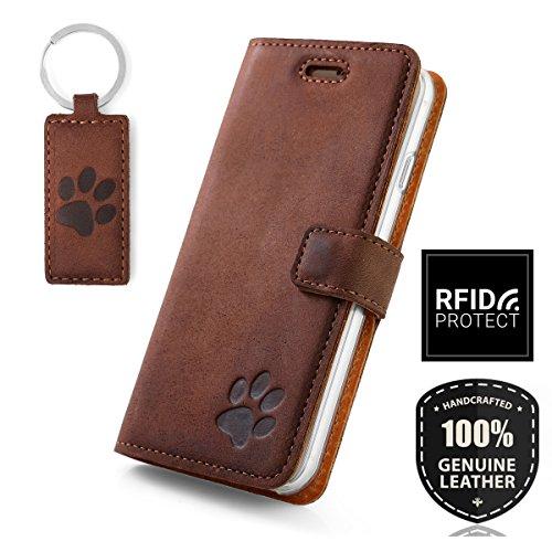 SURAZO für Apple iPhone 8 - Hund Pfote - RFID Hülle Premium Ledertasche Schutzhülle Wallet Case aus Echtesleder mit Kreditkarten/Notizen Fachern Farbe Nussbraun Nubuk Kollektion für Apple iPhone 8