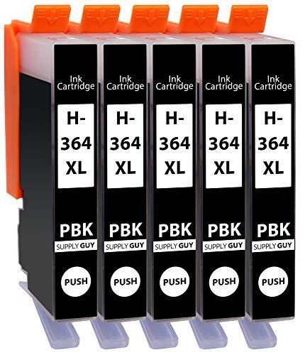 5 Cartuchos de impresión compatibles con HP 364 Negro Photo - para HP364 364xl Modelo CB322EE (¡no Negro, sólo Apto para impresoras de 5 Colores!)