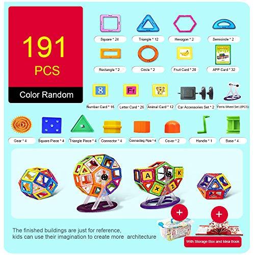 Goolsky 191PCS Magnetic Blocks Building Toys Construcción magnética Apilamiento Educativo y Juego de Aprendizaje para niños