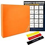 CCLIFE Balance Pad 50x40x6 mit Latexbänder Übungsposter Balanceboards Gleichgewicht Trainer Widerstandband Fitnessbänder Balance Kissen für effektives Balancetraining Latexband&Poster