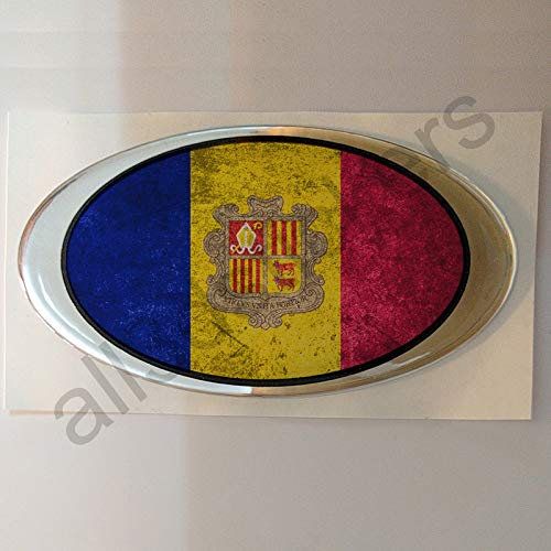 Aufkleber Andorra Oval Dreckig Gesprenkelt Flagge Kfz-Aufkleber Andorra Harz Gewölbt Gedomt Flaggen 3D Fahne