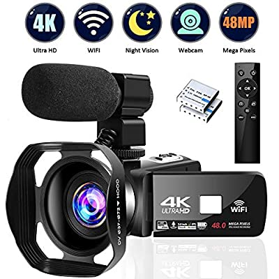4K Video Camera Ultra HD Camcorder 48.0MP IR Night Vision Digital Camera WiFi Vlogging Camera with External Microphone and Lens Hood, 3 in Touch Screen… by Lincom Tech