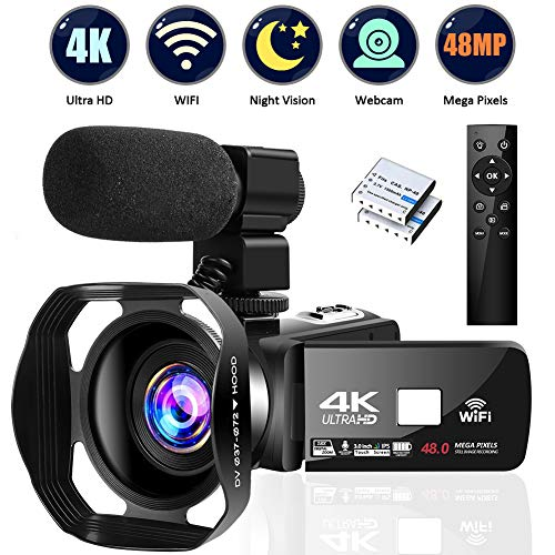"4K Camcorder Digital Camera Video Camera WiFi Vlogging Camera Camcorders with Microphone Full HD 1080P 30FPS 3"" HD Touch Screen Vlog Camera for YouTube with IR Night Vision and Remote Control"