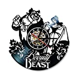 TJIAXU Reloj de Vinilo de la Bella y la Bestia, Reloj de Registro Hueco Creativo, Reloj de Pared Antiguo de Dibujos Animados, Regalo de cumpleaños