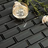 Adedeo Glass Subway Tile Bottom Beveled Edge 12 x 12 Inch for Kitchen Backsplash Bathroom Wall Bright Black (5-Pack, 5 sq.ft.)