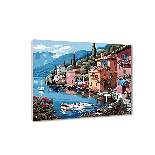 FajerminArt Malen nach Zahlen für Kinder und Erwachsene DIY Ölgemälde Geschenk-Kits mit Holzrahmen gedruckt Leinwand Kunst Home Decoration-See 40 * 50cm