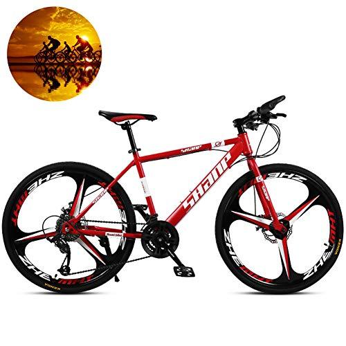 Bicicletas De Montaña, Bicicleta De Cambio Marchas 24/26 Pulgadas Bicicleta De Montaña Rígida Acero Alto Contenido Carbono MTB De Suspensión Completa Para Adultos Asiento Ajustable,Rojo,26 inch / 30 speed
