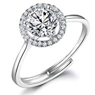 💎 HYPOALLERGENIC 💎 925 Sterling Silver, paved with AAAAA sparkling cubic zirconia, Nickel free,lead free and hypoallergenic. The Cubic Zirconia rings is the best choice for women. 💍 COMFORTABLE FIT 💍 This engagement rings can be gently adjusted to fi...