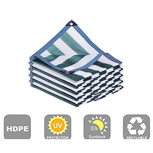 Telas para toldos AGYH Malla De Sombreo, Rayas Blancas Y Verdes, Protector Solar Exterior Y Protector Solar De Malla De Protección UV con Ojal(Size:3x4m)