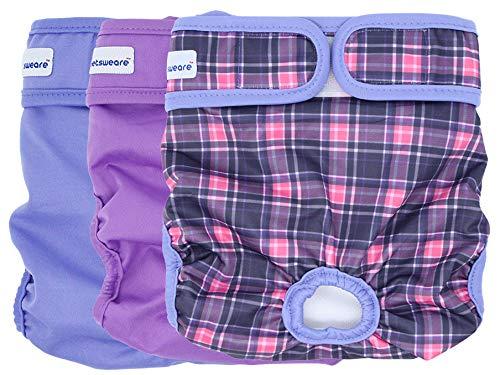 Petsweare wasserdicht saugfähigkeit waschbare robuste Wiederverwendbare Hundewindeln läufigkeitshose inkontinenzunterlage für weiblichen Welpe und Hündinnen 3 Pack (X - Small, Scottish Lila)