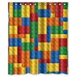 "Shengpeng Shop Custom Waterproof Polyester Bathroom Fabric Shower Curtain Decor 60"" x 72"" Colorful Lego Blocks Pattern Print"