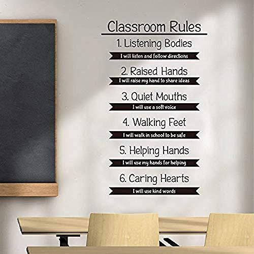 Wandaufkleber,Klassenzimmer Regel Wandtattoo Bildung Forschung Studie inspirierende Zitat Vinyl Aufkleber inspirierende Schule Innendekoration 115cmx70cm
