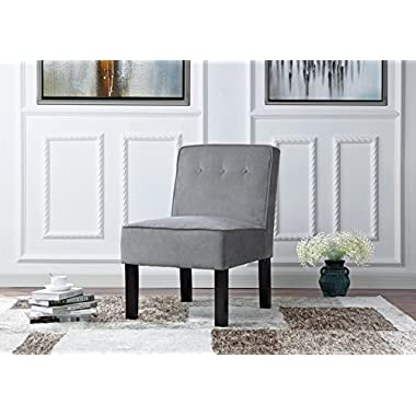 Modern Sleek Tufted Linen Fabric Accent Living Room Chair (Grey)