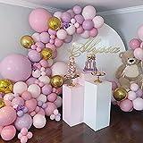 Kit Guirnalda Globos,SPECOOL Globos de Decoración Cumpleaños para Niña con Macaron Globos Rosa Púrpuras Globos de Oro Metálico Globos de Confeti para Niñas Fiesta de Cumpleaños,Decoraciones de Boda