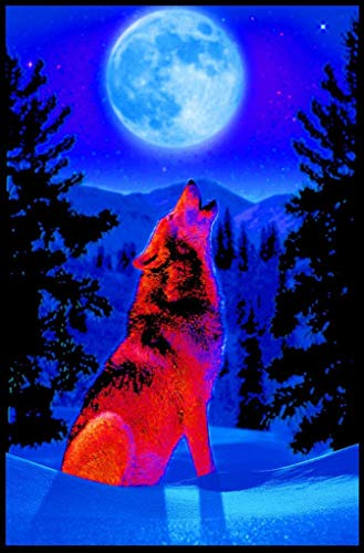 Studio B Wolf Moon Non-Flocked Blacklight Poster 24x36 inches