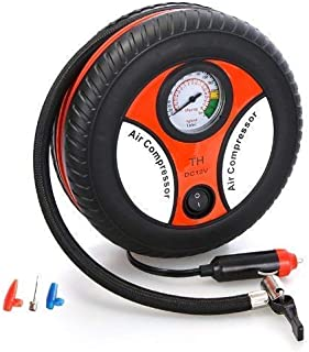 SHIVREX Portable Electric Mini DC 12V Air Compressor Pump for Car and Bike Tyre Tire Inflator